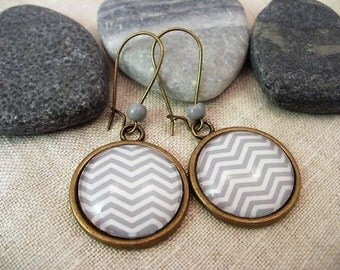 Asymmetrical design, trend, gray or pink glass cabochon earrings, Valentine, gift,.