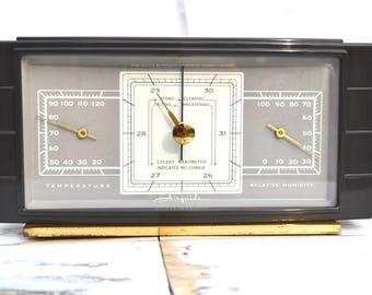 Vintage Airguide Barometer | Vintage Desk Weather Barometer | Airguide Weather Instrument | Vintage Desk Decor | Shelf Barometer