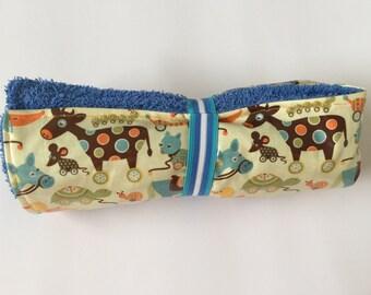 Change mat - laminated cotton with retro-style print - handmade