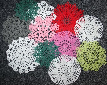 Set Of 11 Crocheted Doilies Crochet Medallion Assortment Mini Doily Boho Crafts Flower Dream Catcher Decorative Tea Time Coasters Home Decor