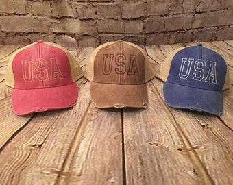 USA Hat, trucker hat, american hat, usa trucker hat, distressed hat, USA cap, trucker cap, distressed cap