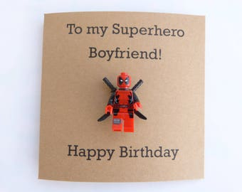 Deadpool birthday card. Boyfriend birthday card. Superhero birthday card. Marvel minifigure birthday card. Superhero boyfriend. Geek card.