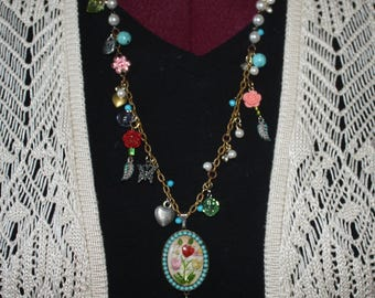 Charm Pendant Necklace with Flowers and Butterfly