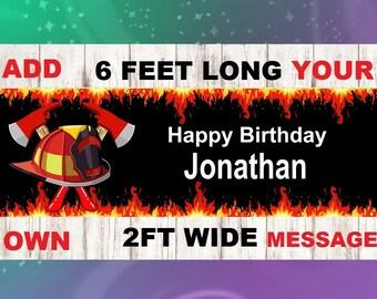 Fireman Birthday Banner,Firefighters Birthday Banner
