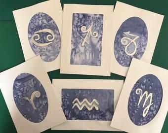 Hand Painted Silk Zodiac Card
