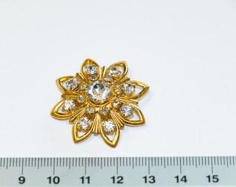 Brooch, Flower, Flower Brooch, Crystal Brooch, Pin, Women's Brooch, D 35 mm