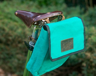 XL Canvas + Leather Saddle / Handlebar / Frame Bag For Bicycles in LIGHT GREEN