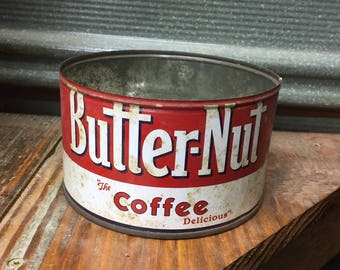 Vintage Butter-Nut Coffee Tin~Rustic Farmhouse Home Decor