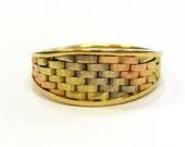 Basket Weave 14K Tri Colo...