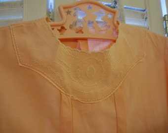 Peach Baby Romper with Sweet Detail, Vintage Nursery Decor
