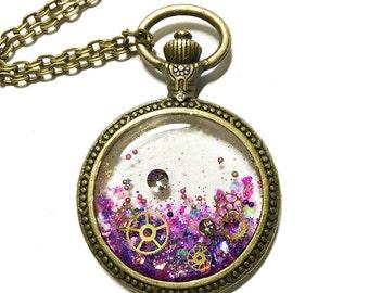 Steampunk jewelry, Cute keychain, Purple resin necklace, Swarovski necklace, gear star, pocket watch necklace, Kawaii, Glitter jewelry