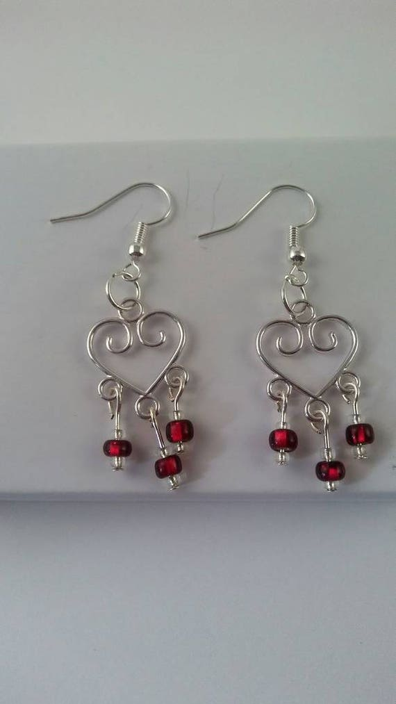 Heart dangles, chandelier dangle earrings, red chandelier earrings, red glass bead earrings, red theme jewelry, handmade earrings, birthday