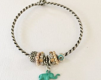 Twisted silver beaded charm bracelet, beautiful jade colored Elephant charm,Evil eye, silver, rose gold and gemstone beads