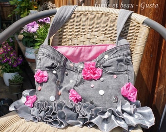 Jeans bag with Ruffles and flowers, kawaii, cute, romantic, reduced!