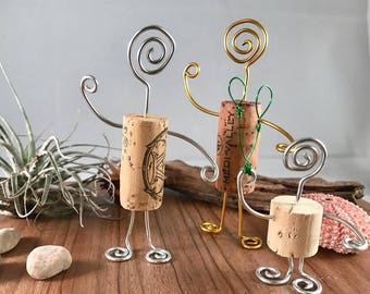 Baby shower gift,wine cork figurines with wire wrap, gifts for baby shower, table decor for party decoration, wine cork gift for wine lovers