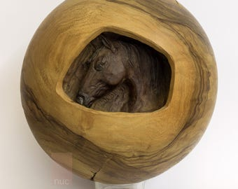 Horse carved from olive wood ball, turned and carved by hand. Horse carving, ball wood. Fine art object, unique gift