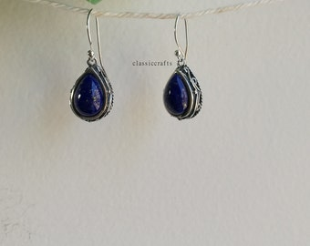 Genuine 925 sterling silver Afghan-lapis-lazuli heart dangle earrings 3. 2 X 1.5cm