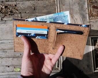 Bespoke Cork Wallet // blue patterned lining