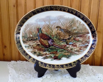 Vintage Serving Platter with Pheasants