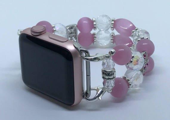 """Apple Watch Band, Women Bead Bracelet Watch Band, iWatch Strap, Apple Watch 38mm, Apple Watch 42mm, Pink Cat's Eye Crystal Clear 6 3/4"""" - 7"""""""