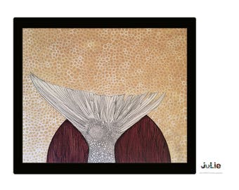 Fish tail, Acrylic paint, pencil lead and ink, white, beige, texture, on canvas, original artwork.