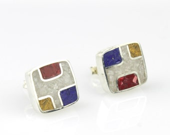 Geometric Post Stud Earrings, Cube Earrings, blue red white Earrings, Minimalist Modern Jewelry-Eco friendly