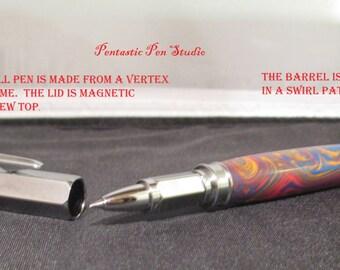 Handmade Vertex pen with acrylic swirl barrel