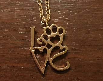 Cute LOVE with Paw Design Necklace  Gold tone