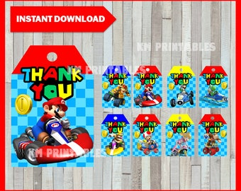 80% OFF SALE Printable Mario Kart Thank you Tags instant download, Mario bros party Tags, Printable Mario Kart Gift Tags
