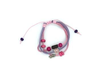 Fancy doeskin bracelet / waxed cotton