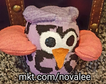 Purple sock animal, purple cheetah owl, owl stuffed animal, sock monkey, owl sock animal, owls, stuffed animals, sock animals, socks, owl