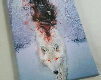Jon Snow With Dierwolf Painting A4 Size Canvas Game Of Thrones