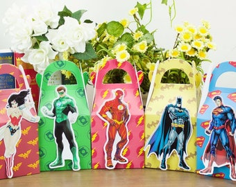 Justice League Superheros Birthday Party Supplies, Justice League Superheros Favor boxes,  Superheros Candy box