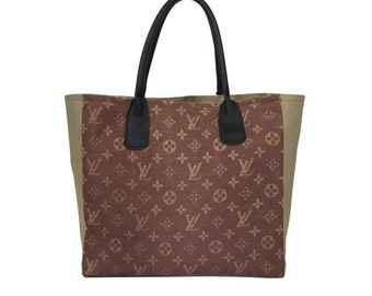 Tote Bag - Repurposed Louis Vuitton Scarf with Leather Handles - Taupe
