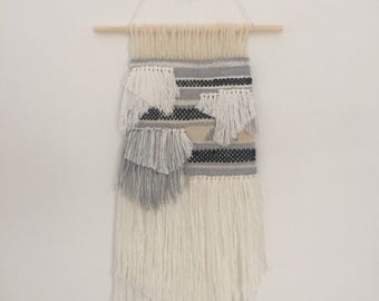 Woven Wall Hanging - Grey and White