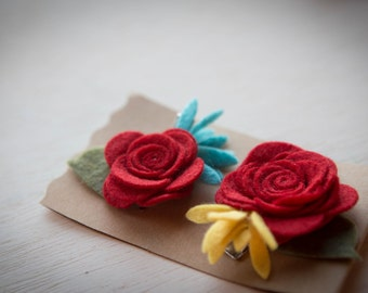 Set of Two: Red, Yellow and Blue Felt Flower Hair Clip