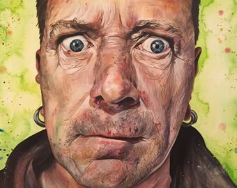 Johnny Rotten Fine Art printed Greetings Card