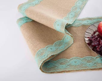 """Natural Jute Burlap Table Runner with Green Lace 12"""" Width"""