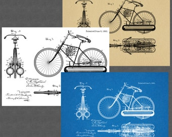 1893 Bicycle Patent Digital Instant Download Art Prints (3)