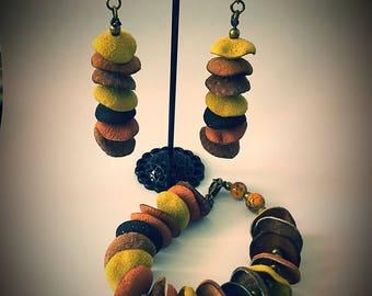 Handmade leather bracelet and earrings set bespoke unusual