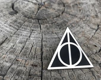 "Deathly Hallows Enamel Lapel Pin 1.25"" - Harry Potter - Silver and Black"