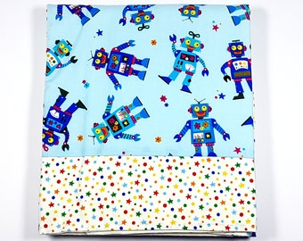 Robots and Stars - Baby Blanket for Sleeping, Fun and Recreation - Robot Blanket - Soft Cotton Blanket