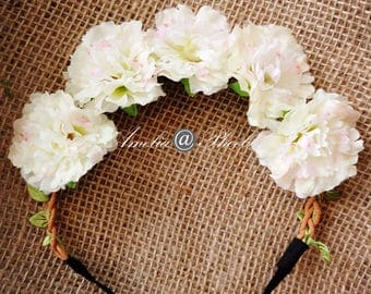Love Story Ivory Rose Flower Crown, Brides, Bridesmaids or Flower Girls Headband,Rose Floral Crown