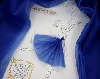 76 Royal Blue Tulle Fabric Soft Luxury, Tutu Wedding Dress Fabric, Tulle Material Wholesale, Tutu Fabric, Tulle Fabric for Tutus-3m width