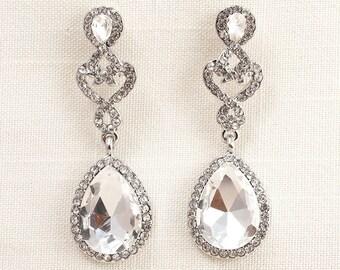 Wedding Bridal Chandelier Silver Cubic Zirconia and Swarovski Crystal Earrings JSB10104ESilver