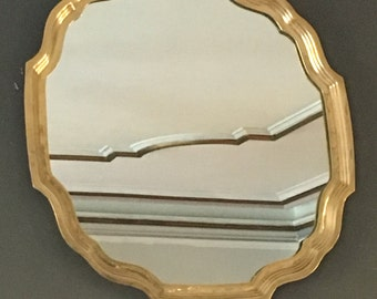 Hollywood Regency scalloped mirror made in Italy, Florentia