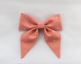 Large Sailor Bow - Hair Bow - Mom - Girl - Toddler Girl - Coral With White Polka Dots - Cotton