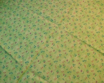 Pastel Green with Multi-Colored Tulip Spring Print - 43 x 36