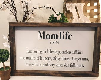 Momlife Framed Wood Sign