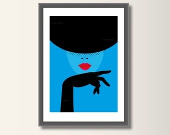 Fashion hat, fashion posters, fashion art print, art, wall art, fashion illustration, fashion art, minimalist print, pop art